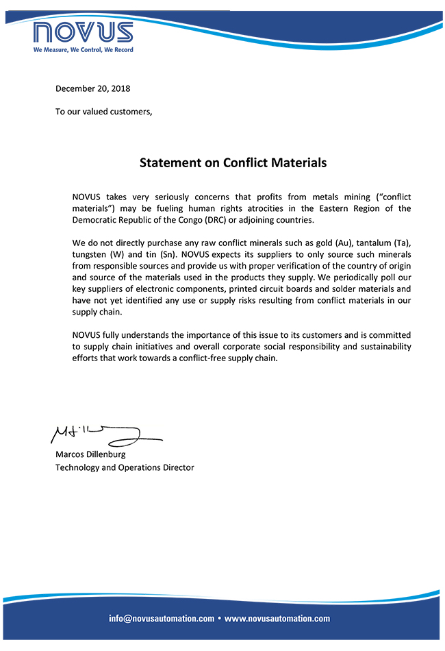 Statement on Conflict Materials